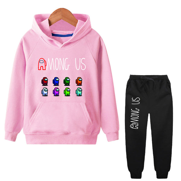 Kids Letter Among Us Hoodie Top and Tie Front Joggers Set