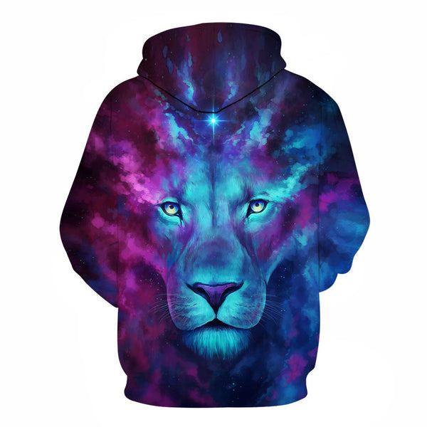 Blue Lion Face Hoodies 3D Printed Sweatshirt