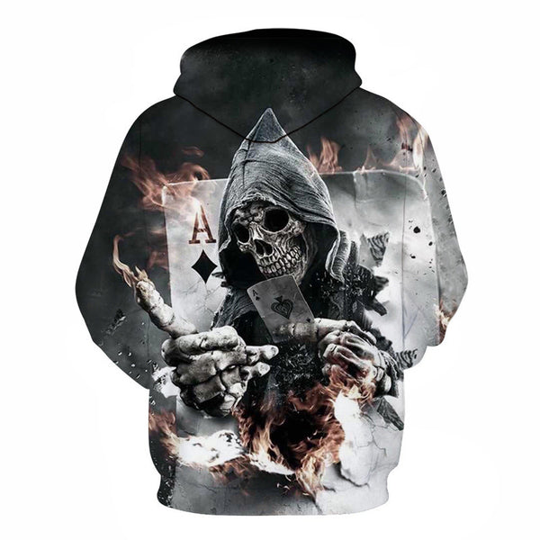 Grey Skull Long Sleeves Hoodie 3D parttern Sweatshirt