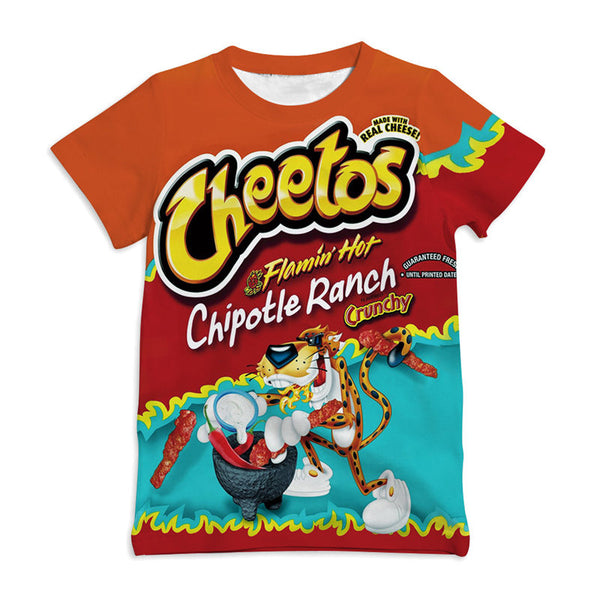 Cheetos Design T Shirt Boys/Girls Short Sleeve Top Children's Funny T-Shirt
