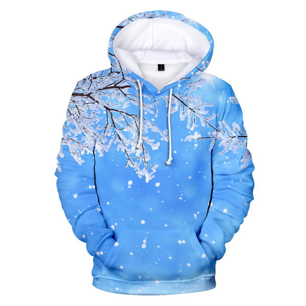 Drop Shoulder Snow Drawstring Blue Hoodie