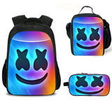 Marshmello Rainbow Backpack Kids Smile Face Backpack for School 3PCS