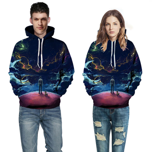 Unisex 3D Printed Galaxy Pattern Hoodied Sweatshirt