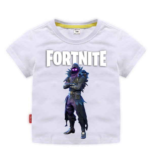 Kids Cotton T-shirts Fortnite Raven Print Tees