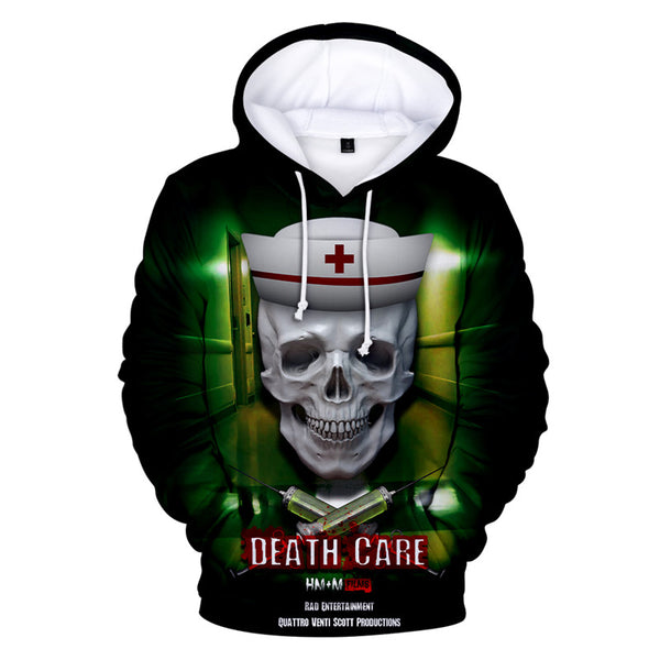 Long Sleeve Death Care Print Hoodie Pullover Hooded Sweatshirt