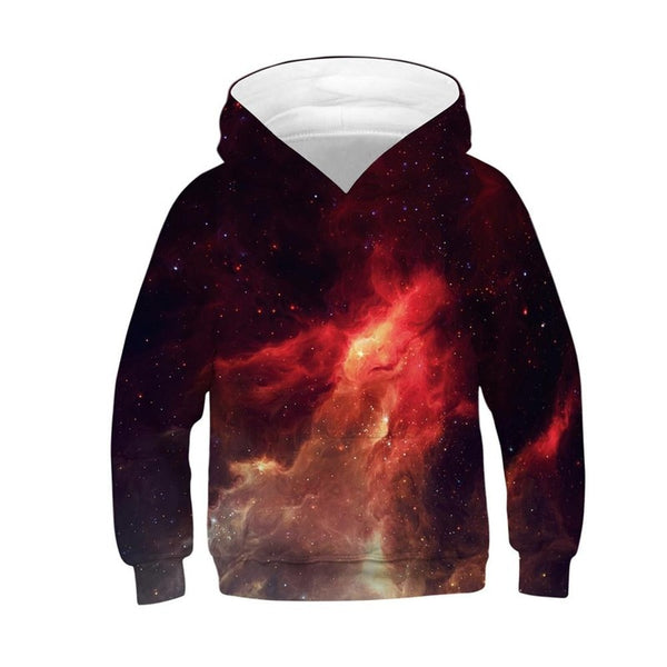 Unisex Kids Galaxy Fleece Sweatshirts Pocket Pullover Hoodies 4-15Y