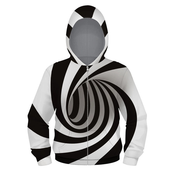 Kids Sport Long Sleeve Abstract 3D Print Full Zip Hoodie