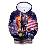 Drop Shoulder Trump Printed Drawstring Hoodie
