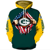 Mens Football Team Graphic 3D Printing Hoodie NFL Long Sleeve Sports Pullover Sweatshirt