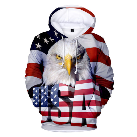 Mens USA Eagle Hoodie, Mens American Flag Print Pullover Sweatshirt