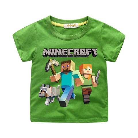Kids Minecraft Cotton T-shirt Mini Mob Graphic T-Shirt