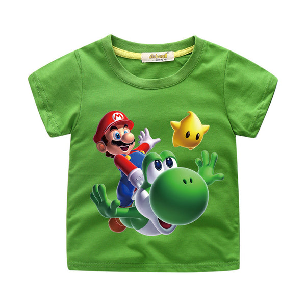 Boys Super Mario Character Group Shot Graphic T-Shirt