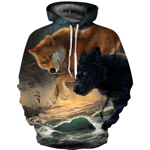 Unisex Wolf Printed Hoodie 3D Animal Sweatshirt