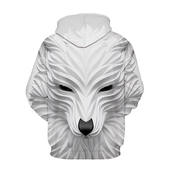 White Fox Hoodie 3D Painted Pullover Sweatshirt