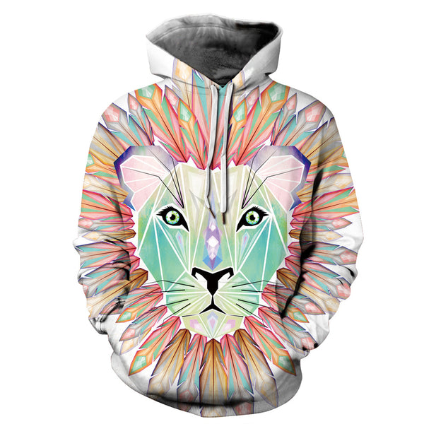 Vivid Color Lion Pullover Casual Style 3D Painted Hoodie