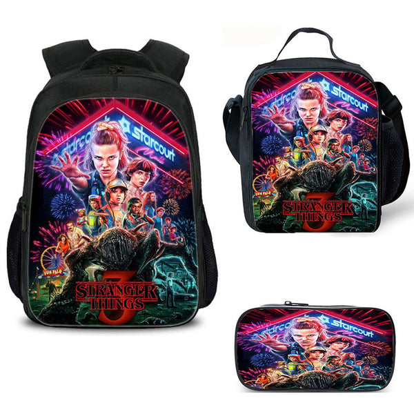 Stranger Things 3 Backpack and Pencil Case with  Lunch Bag 3PCS Set