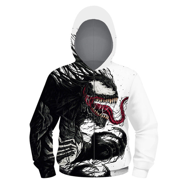 Long Sleeve VENOM Print Full Zip Hoodie for Kids