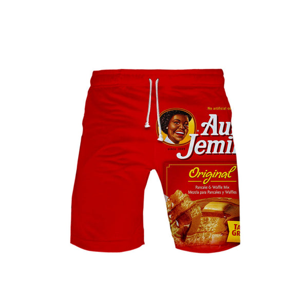 Aunt Jemima Pattern Loose Model Spring Summer Season Polyester Material Beach Shorts
