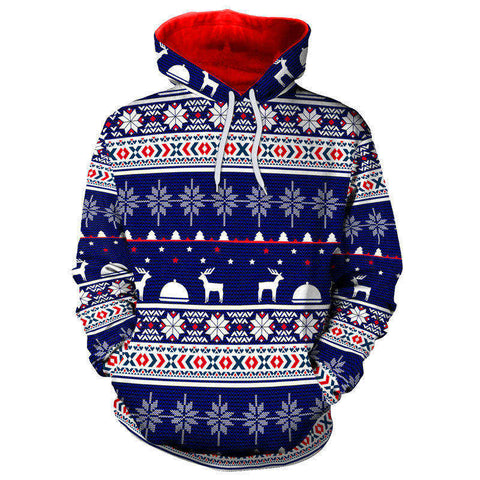 Christmas Snowflake Elk Hoodies Printd Top Sweatshirt