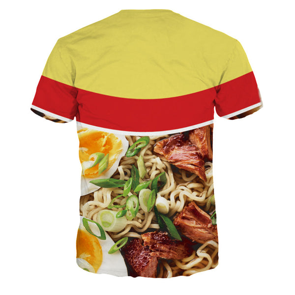 Ramen Noodle Beef T-Shirt Round Neck Tee  Short Sleeve Tops