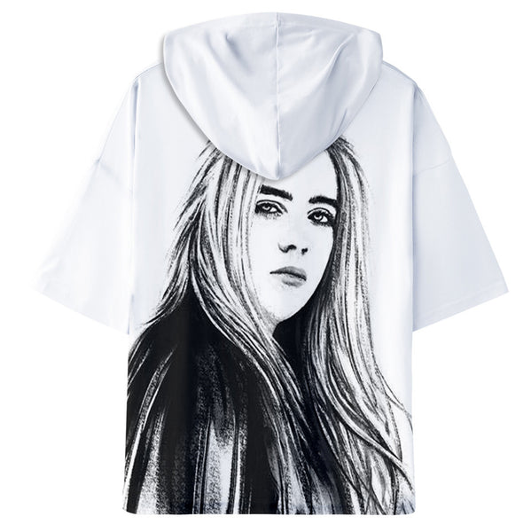 Billie Eilish T-shirt Short Sleeve Hooded Sweatshirt