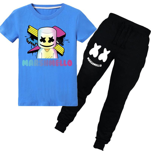 Kids Cute Tee Shirts Mask Smile Face Short Sleeve Shirt Sets