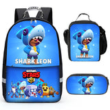 Brawl Stars Backpacks with Luch box and Pecncil Bag 3PCS