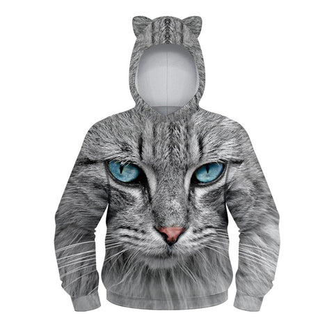 Children's Pullover Hoodie Cat 3D Print Hooded Sweatshirt