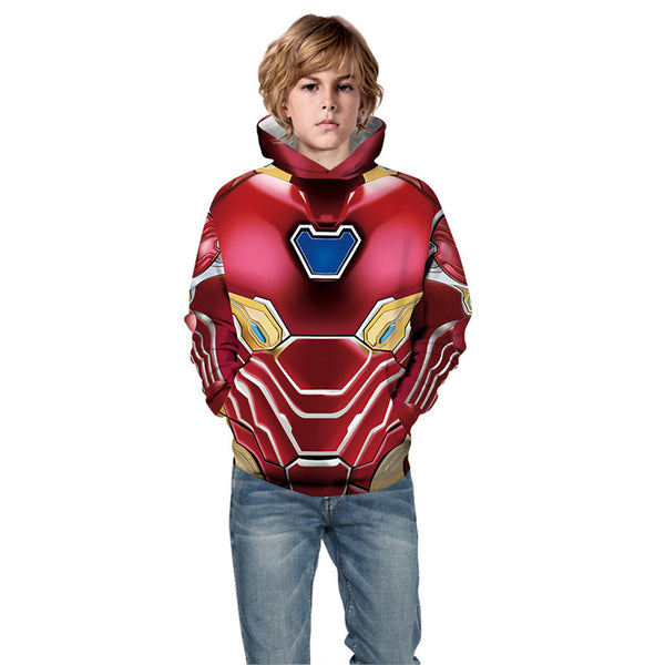 Youth Iron Man Printing Hoodie Hooded Sweatshirts