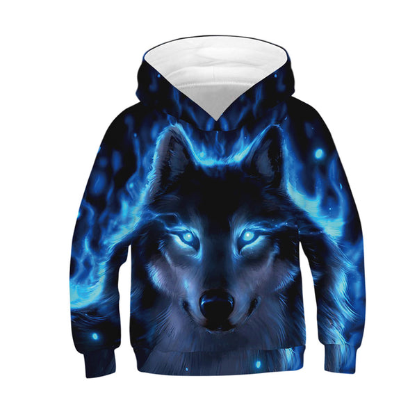 Cute Novelty Blue Wolf Animal Galaxy Hoodies Sweatshirts