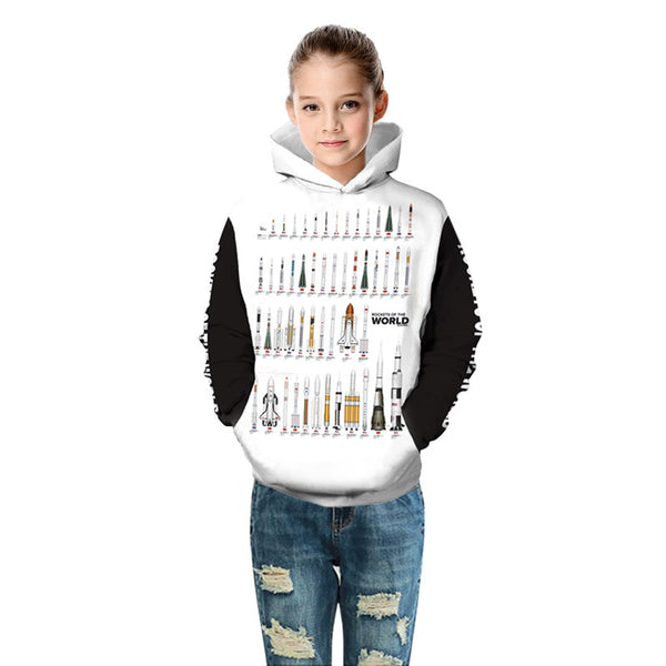 Kids Pullover Hoodie rockets ont the world Print Hooded Sweatshirt
