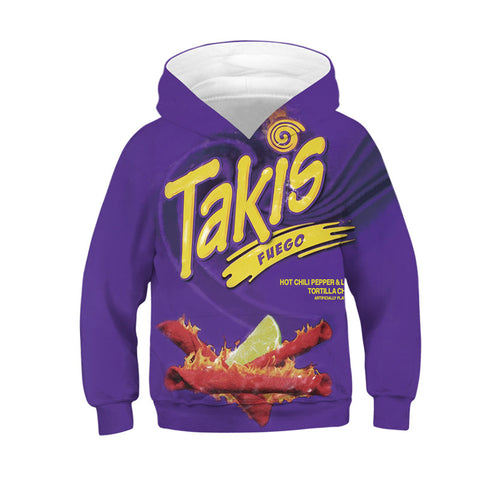Long Sleeve Hoodie Takis Print Cool Sweatshirt for Kids