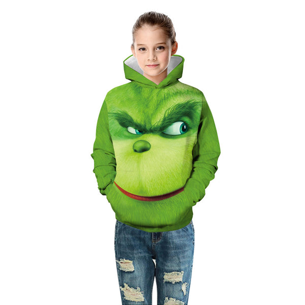 Long Sleeve Sweatshirts The Grinch Print Hoodie For Kids