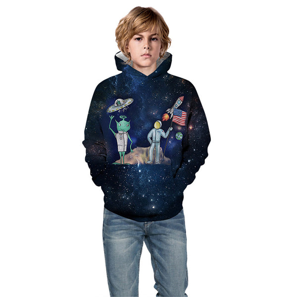 Unisex 3D Print Hoodie Graphic Space Hooded Sweatshirt For Boys Girls