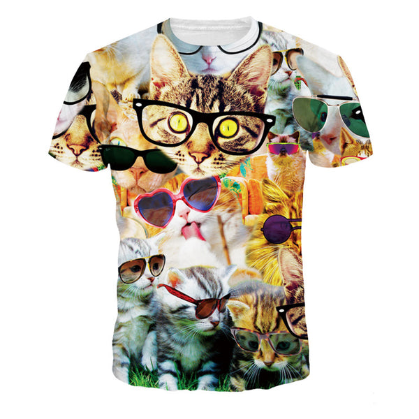 Unisex T Shirt  Cat Printed Design Pattern T-Shirts Top Tees