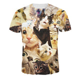 Fashion Mens Cat Printed Design Pattern T-Shirts Top Tees