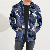 Fashion 3D Printed Navy Long Sleeve Oversize Zip Up Hoodie