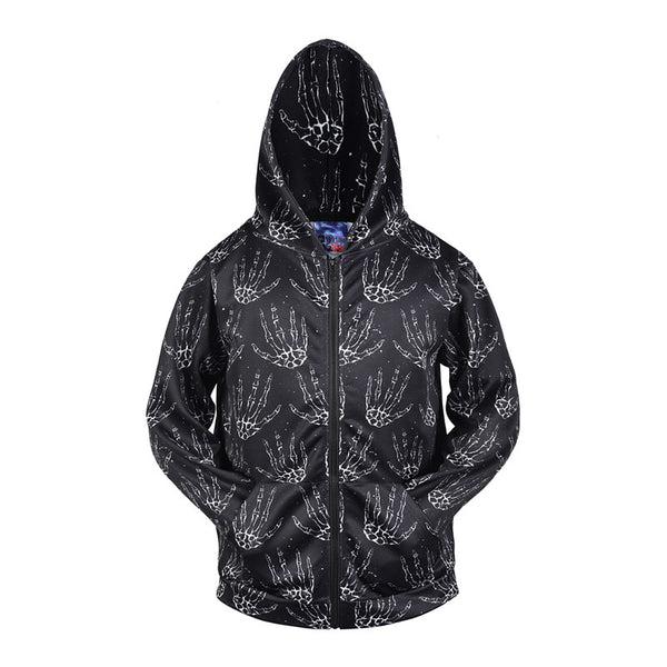 Halloween Fingerprin 3D Print Plus Size Hoodie with Zip Pockets
