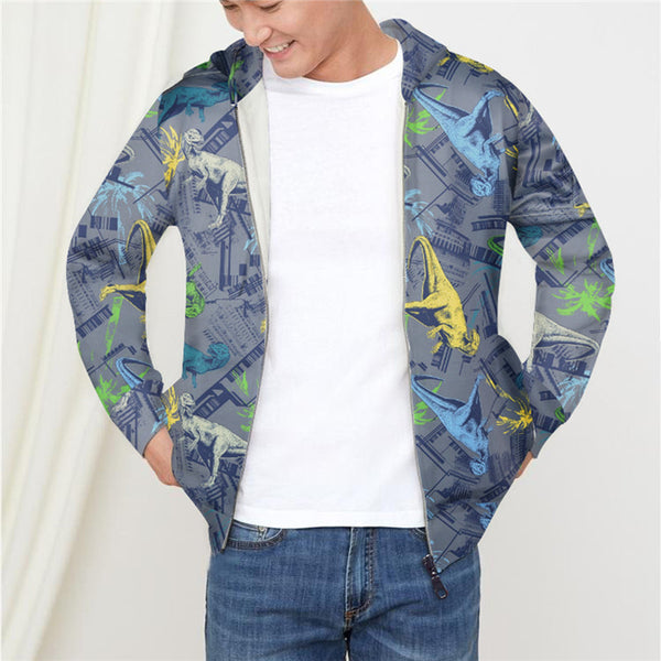 Dinosaur Pattern Long Sleeve Loose Fit Pullover Hoodie with zip pockets