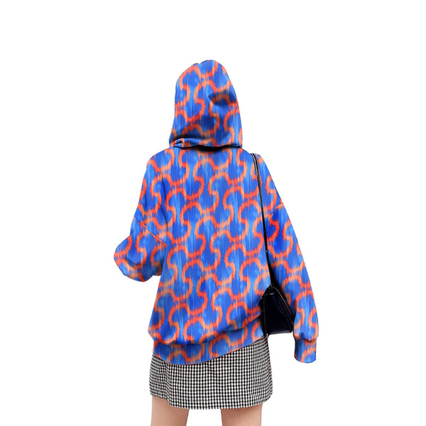 Purple Check Pattern Cosplay Costume Long Sleeve Zip Up Casual Loose Hoodie