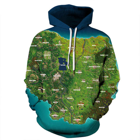Youth Fortnite Map Hoodie Green Fortnite hoodies