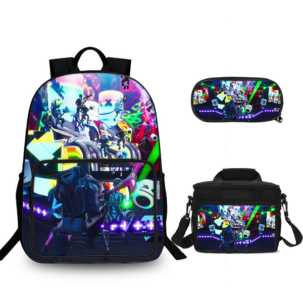 Marshmello Party 3D Backpack Lunch Bag And Pencil Case 3 in 1
