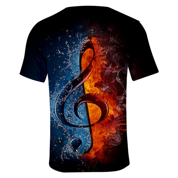 Unisex 3D Music Note Pattern T Shirts Short Sleeve T-Shirts