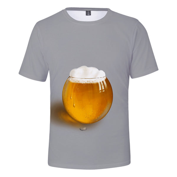 Men's 3D Printed Flower Beer Shirt