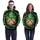 Saint Patrick's Day 3D Cat Print Hoodies