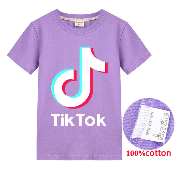 Tik Tok Print T-shirt Kids Cool Cotton Tee