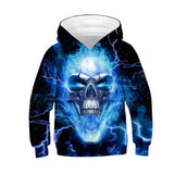 Unisex Ugly Christmas Hoodie Skull Printed Xmas Pullover Sweatshirt for kids
