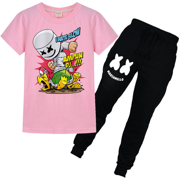 I Hate Slow Marshmello T-shirt Pants Set For Youth