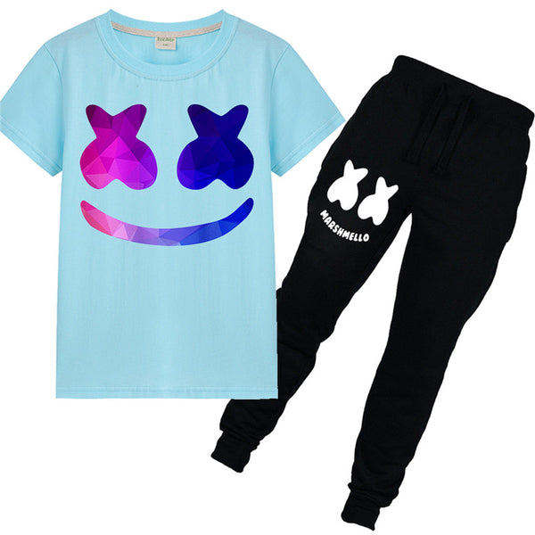 Kids Marshallow Face T-shirt With Long Pants Set