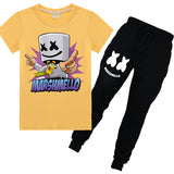 Cute Marshmello T-shirt Set With Long Pants Cotton T-shirt